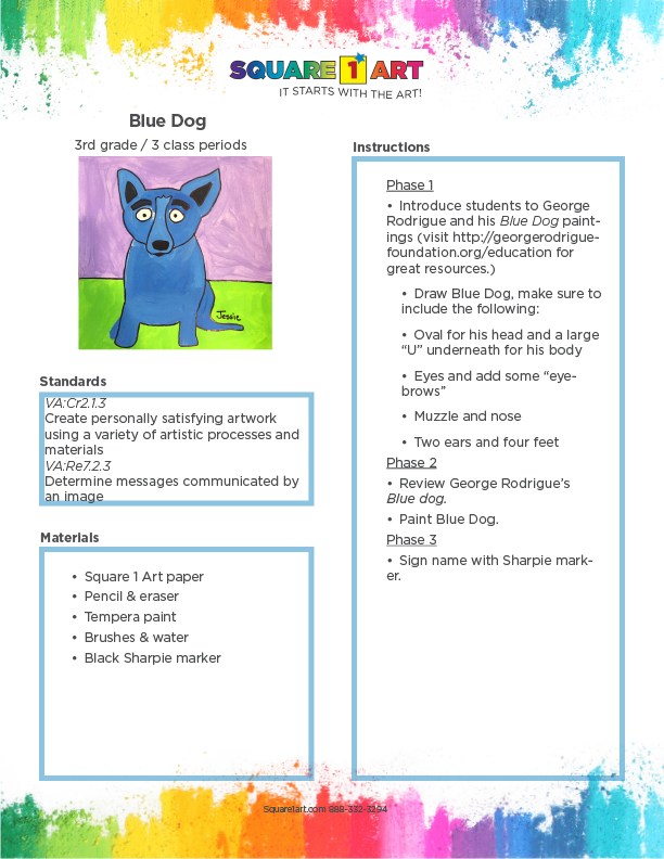 Square 1 Art - Lesson Plan - Blue Dog