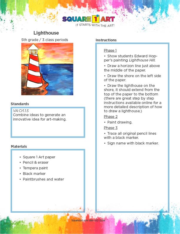 Square 1 Art - Lesson Plan - Lighthouse