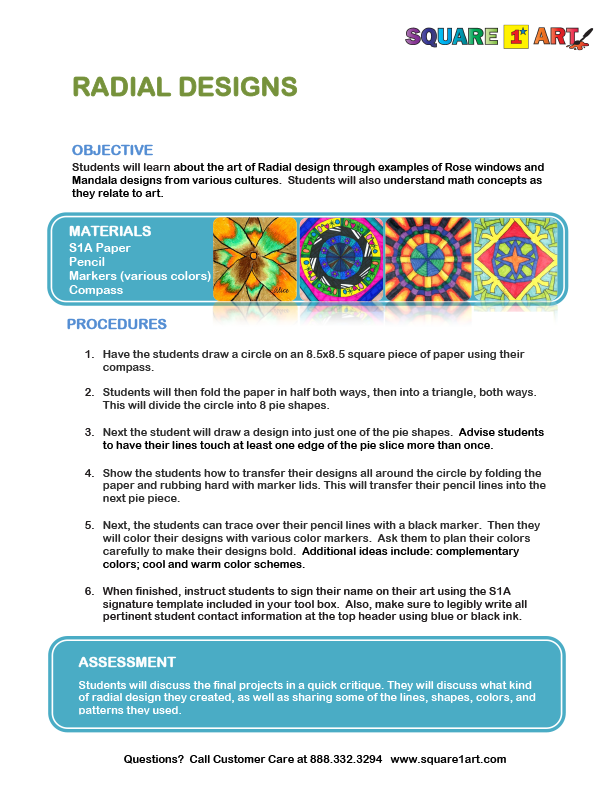 Square 1 Art - Lesson Plan - Radial Designs