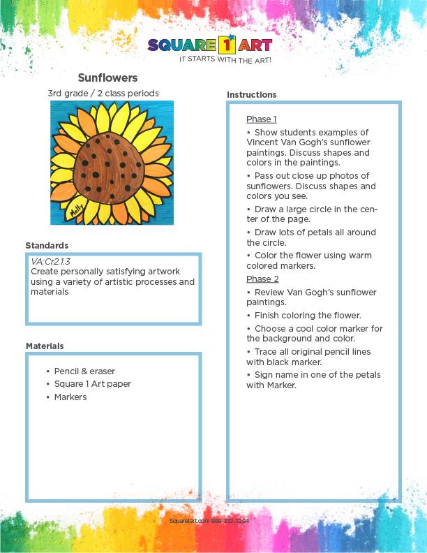 Square 1 Art - Lesson Plan - Sunflowers-1