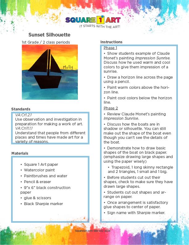 Square 1 Art - Lesson Plan - Sunset Silhouette-1
